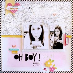 Bella Blvd Sweet Sweet Spring & Just Add Color collections. Oh Boy layout by creative team member Gail Lindner.