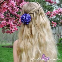 I love how this lace waterfall braid turned out. Ashton is wearing a beautiful flower clip by binding_creations.