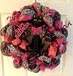 Halloween Mesh Pink Wreath Halloween Mesh Cat Wreath Cat Wreath by BrittenyReneeDesigns on Etsy