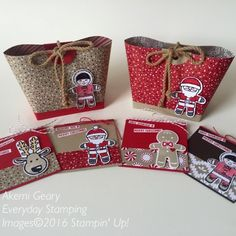 Stampin' Up! 手作りカード クッキーカッタークリスマス ミニカードとトートバッグ|Everyday Stamping 〜スタンピン・アップ ! 癒しのペーパークラフト〜Akemi Geary Everyday Stamping Candy Cane Lane