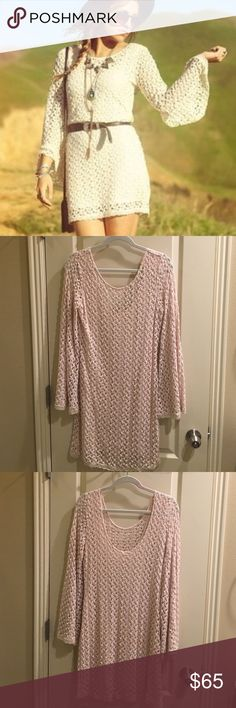 Free People crochet fitted dress Free People crochet fitted dress with bell sleeves. Size large. NWOT. Never worn. Perfect condition. No holds or trades. ❤️❤️❤️ Free People Dresses Long Sleeve