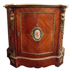 Salon Cabinet with Sevres Medallion and Marble Top  French  1850
