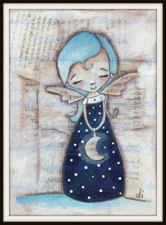 Il sagit dune copie de mon CD original peinture « Midnight Blue ». Imprimé sur 110# acide carton blanc gratuit avec les encres Epson. Signé sur le