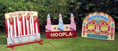 A trio of fantastic garden games with a funfair/village fete look. Everything from a Coconut Shy, Hoopla to a Ball in the Bucket Game!
