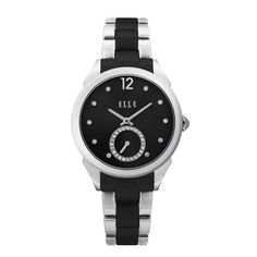 ELLE TIME Watch featuring Stainless Steel Case, Sunray Crystal Black Dial & Steel Band