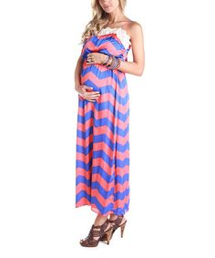 Take a look at this Blue & Coral Zigzag Maternity Maxi Dress by PinkBlush Maternity on #zulily today!