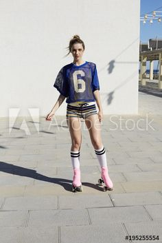 Stock Image: Portrait of young woman in rollers skates Best Roller Skates, Children Holding Hands, Roller Skating, Rollers, Young Women, Photo Ideas, Sporty, Poses, Stock Photos