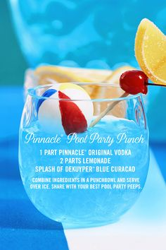 Pinnacle® Pool Party Punch cocktail recipe: 1 part Pinnacle® Original Vodka, 2 parts lemonade, a splash of Dekuyper® Blue Curacao. Combine ingredients in a punchbowl and serve over ice. It's the perfect summer refreshment to share with your pool party pe Pool Drinks, Blue Drinks, Beach Drinks, Vodka Drinks, Cocktail Drinks, Mixed Drinks, Cocktail Recipes, Blue Curacao Drinks, Beverages