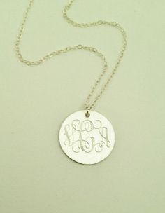 Monogrammed Necklace in Sterling Silver for Women or Bridesmaid Present. $26.00, via Etsy.