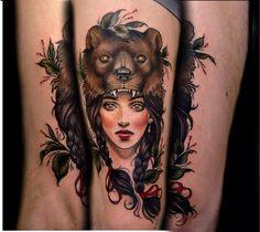 I am in love with my new tattoo! Beautiful bearskin girl by Samantha Smith Tattoo Co, Richmond, BC. - Imgur