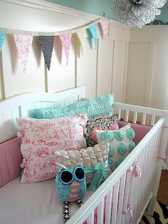Inspiration photo for nursery:  Board & batten- check, blue walls- check, need to finish the bunting, put bedding in the crib and hang pictures.