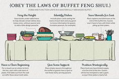 How to set up your buffet. Food table set up, presentation menu basics. Diy shower, birthday party or celebration. Tip Obey the Laws of Buffet Feng Shui. Table Set Up, A Table, Buffet Set Up, Feng Shui, Wedding Buffet Menu, Wedding Table Setup, Wedding Picnic, Cruise Wedding, Wedding Dinner