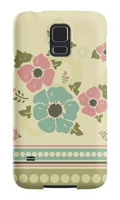 """""""Vintage pattern with a border """"Nostalgic Flowers"""""""" Samsung Galaxy Cases & Skins by floraaplus 