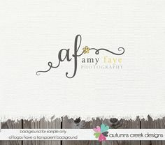 Custom Premade Photography Logo - Initials Swirls and Flower Logo and Watermark Design Name Text Logo