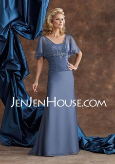 Mother of the Bride Dresses - $122.99 - Sheath Scoop Neck Floor-Length Chiffon  Charmeuse Mother of the Bride Dresses With Ruffle  Lace  Beading (008003502) http://jenjenhouse.com/Sheath-Scoop-Neck-Floor-length-Chiffon--Charmeuse-Mother-Of-The-Bride-Dresses-With-Ruffle--Lace--Beading-008003502-g3502