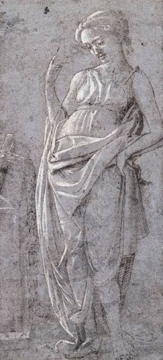 Female Figure by Filippo Lippi (1430) Early Renaissance sketch gouache, pen, ink. In the Harvard University Art Museum, Cambridge.