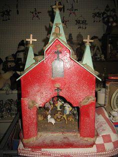 "1940""s Christmas Church With Nativity Scene Inside."