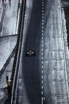 Senna about to go up a snowy Eau Rouge in Spa 1985.