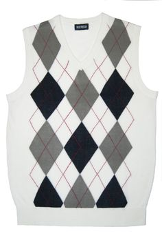 White Argyle Sweater Vests for Men    www.yookstore.net