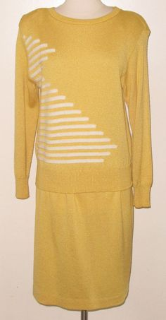 c.1970s Sz. M Canary Yellow ANTHONY SICARI 2pc Knit Sweater Skirt Suit or Outfit #AnthonySicari