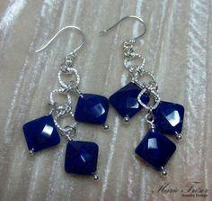 Diamond shape faceted Lapis Lazuli earrings by MarieTresorJewelry