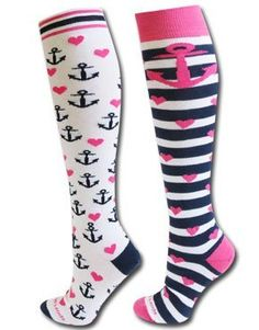 Anchors Away Socks (2 pair) White/Blue/Pink