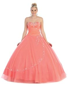 Saucy Long Quinceneara dress in color Fuchsia/Pink, Purple, Turquoise & more - Sweetheart neckline style in material: Tulle - Plus Size available. - $255 - Dress URL: http://www.jessicasfashion.com/a-gorgeous-stylish-quincenera-gown-mq586.html
