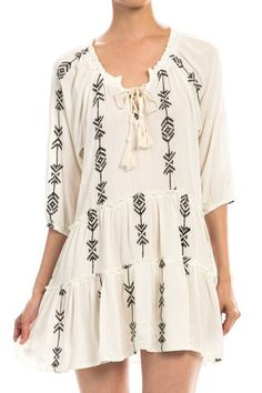 Embroidered Self Tie Tunic Dress