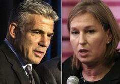 Finance Minister Yair Lapid (L) and Justice Minister Tzipi Livni Photo By: REUTERS