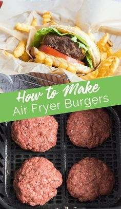 How to Make Air Fryer Burgers - a quick way to make tasty burgers when it's too cold to grill! Air Fryer Oven Recipes, Air Frier Recipes, Air Fryer Dinner Recipes, Air Fryer Cooking Times, Cooks Air Fryer, Beef Recipes, Healthy Recipes, Ninja Recipes, Cooker Recipes