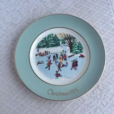 Vintage Decorative Plate Christmas 1975 / Skaters on the Pond by Wedgwood for Avon by vintagepoetic on Etsy