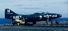 A Grumman F9F-3 Panther doing carrier operations.