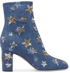 b83289d5e753 Valentino - Embellished Denim Ankle Boots - Mid denim Jeans Bleu
