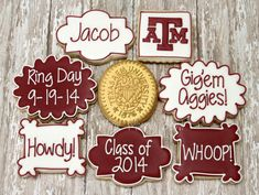 Texas A&M Aggie Ring Day Cookies by The Pink Mixing Bowl! Graduation Party Decor, College Graduation Parties, Graduation Cookies, Graduation Ideas, Aggie Ring Day, Iced Sugar Cookies, Cupcake Cookies, Gourmet Cookies, Decorated Cookies
