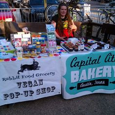 Tabling at ATX Vegan Drinks in June with Capital City Bakery.