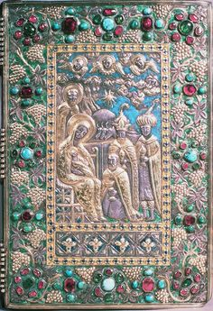 METALWORK & ENGRAVINGS - Gilded silver and enamelled upper cover of binding with semi-precious stones, 1475, Walters Art Gallery, Baltimore, Maryland, MS 540. Photo: Walters Art Gallery