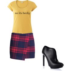A fashion look from October 2014 featuring brown t shirt, red skirts and black leather booties. Browse and shop related looks. Skater Skirt, Shoe Bag, Skirts, Polyvore, Stuff To Buy, Shopping, Collection, Shoes, Design