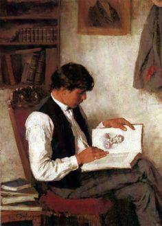 """Franz von Defregger 1872 """"Lesender Mann"""""""