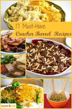 17 Must-Have Cracker Barrel Restaurant Recipes - dinner recipes, desserts recipes, and more copycat restaurant recipes from Cracker Barrel!