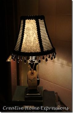 Black lace and beads lampshade