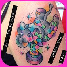 https://www.facebook.com/VorssaInk, http://tattoosbykata.blogspot.fi, #tattoo #tatuointi #katapuupponen #vorssaink #forssa #finland #traditionaltattoo #suomi #oldschool #pin up #elephant