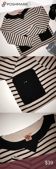 Tory Burch Sweater Tory Burch Striped Sweater * Super Cute and Comfortable * Excellent conditions * No rips or holes * Goes great with everything * Pet Free / Smoke Free * SHIPS NEXT DAY ✈️ 📦 Reasonable OFFERS considered 💰 Tory Burch Sweaters