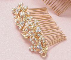 Bridal Hair Comb Gold Wedding Hair Comb by goddessdesignsgems Bridal Comb, Hair Comb Wedding, Bridal Hair, Gold Wedding, Wedding Hairstyles, Wedding Hair Styles, Wedding Hair Down, Bridal Hair Accessories, Wedding Hairs