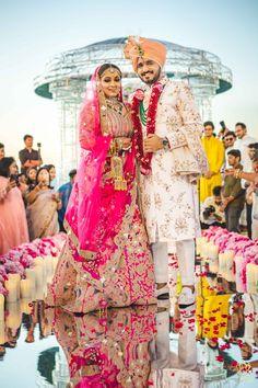 wedding Indian Wedding Couple, Wedding Couples, Wedding Ideas, Pink Lehenga, Wedding Mandap, Groom Wear, Indian Wedding Decorations, Wedding Story, Couple Portraits