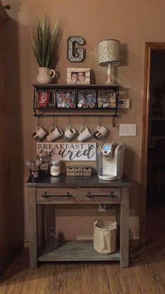 Rustic coffee station #Coffee (Coffee bar ideas) Tags: Rustic coffee station ideas, Rustic coffee station kitchens, Small coffee station #Wood (refurbished bookcase color combos)