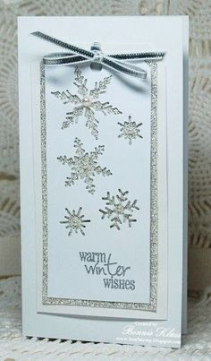 handmade Christmas card from Stamping with Klass: Sparkling Snowflakes for Queen LM . tall and narrow format . negative space snowflake die cuts show the silver glitter paper mat . Christmas Cards 2018, Homemade Christmas Cards, Christmas Tag, Homemade Cards, Holiday Cards, Christmas Decorations, Christmas Abbott, Christmas Snowflakes, Christmas Music