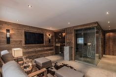 Wellness area with sauna, steam bath and relaxation area - Stefanie Moosbauer - Sauna - Home Gym Basement Sauna, Sauna Room, Basement House, Design Sauna, Home Gym Design, House Design, Saunas, Home Spa Room, Spa Rooms