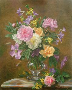 Vase Of Flowers Print By Albert Williams