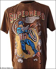 The SUPER HERO T-shirt by Shiroi Neko. Stone washed T-shirt with rhinestuds featuring Captain America.