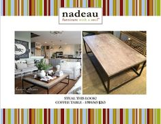 """Eeek!! We love Jeanne Oliver Designs and her house is... To. Die. For. This #coffeetable is perfect for so many styles of #decor, from #contemporary to #rusticfarmhouse, and many in between. Here's a sweet little """"Steal This Look"""" that we think you'll enjoy #Nadeau  #NOLA"""